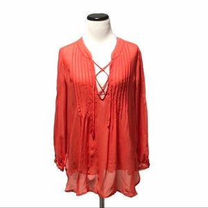 Joie Naylor Live Coral Sheer Tie Up Blouse